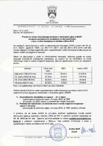 Pravila za izrabo časopisnega prostora v občinskem glasilu MOST  za namen predstavitve kandidatov in list kandidatov  v času volilne kampanje za lokalne volitve 2018