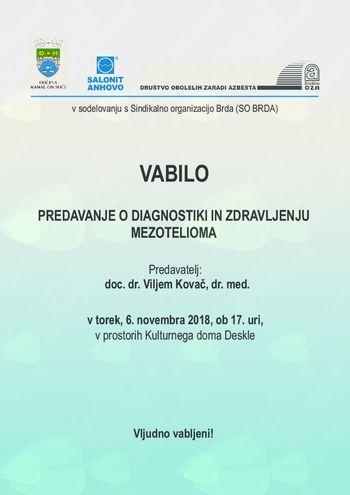 Vabilo na predavanje o diagnostiki in zdravljenju mezotelioma