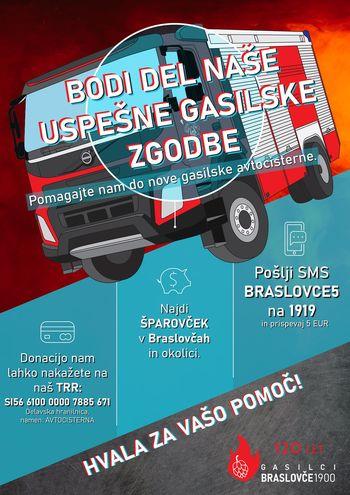 Braslovški gasilci s kolesom do novega gasilskega vozila