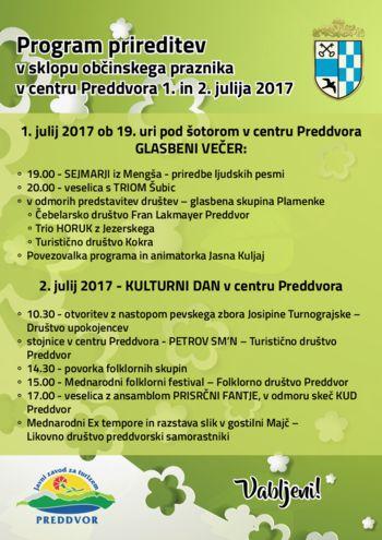 Program prireditev v sklopu občinskega praznika v centru Preddvora 1. in 2. julija 2017