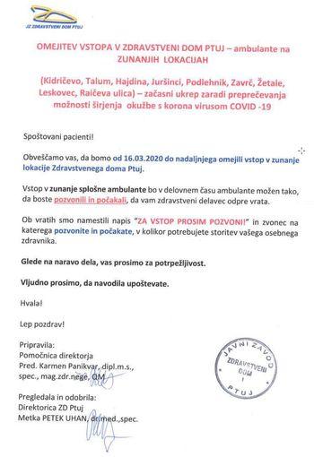 Obvestilo ZD Ptuj glede omejitve vstopa v ambulanto Kidričevo