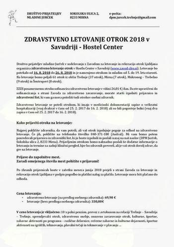 ZDRAVSTVENO LETOVANJE OTROK 2018 v Savudriji - Hostel Center
