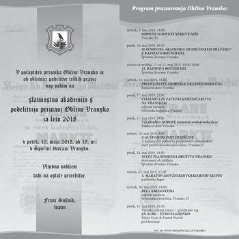 Slavnostna akademija s podelitvijo priznanj Občine Vransko za leto 2018