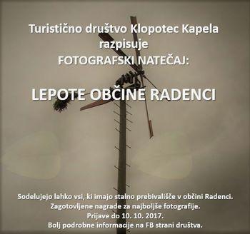 """Turistično društvo Klopotec Kapela objavlja fotografski natečaj  z naslovom """"Lepote občine Radenci"""""""
