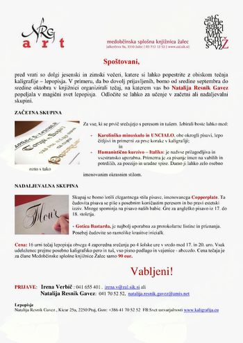 TEČAJ KALIGRAFIJE - LEPOPISJA