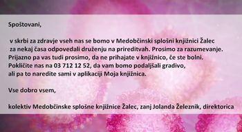 Obvestilo Medobčinske splošne knjižnice Žalec