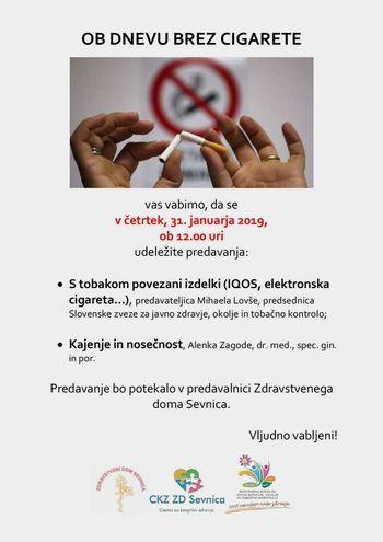 31. januar - Dan brez cigarete v ZD Sevnica