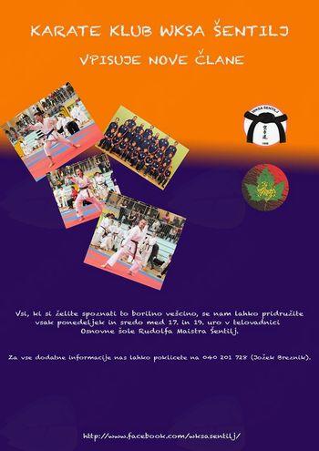 Karate klub WKSA Šentilj vabi k vpisu