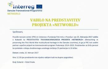 """VABILO NA PREDSTAVITEV PROJEKTA """"NETWORLD"""""""