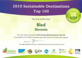 Bled ponovno med 100 najbolj trajnostnimi in zelenimi destinacijami sveta