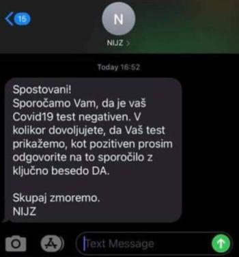 Opozorilo – zloraba imena NIJZ glede obveščanja o opravljenem testu covid-19