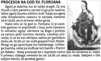 VABILO  NA  PROCESIJO  SV. FLORJANA
