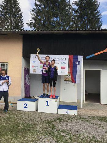 Živa Slapšak in Miha Povšič, zmagovalca drugega teka za Sevniški pokal