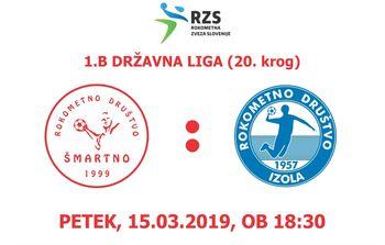 Rokometna tekma proti RD BUTAN PLIN IZOLA (1.B DRL - 20. krog)