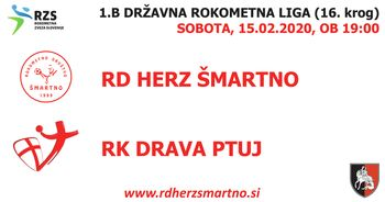 Rokometna tekma proti RK DRAVA PTUJ (1.B DRL - 16. krog)