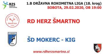Rokometna tekma proti ŠD MOKERC KIG (1.B DRL - 18. krog)
