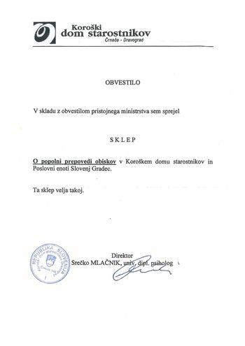 OBVESTILO - prepoved obiskov v domovih za starejše