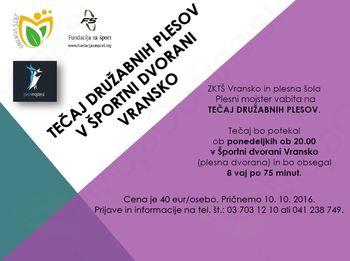 PLESNI TEČAJ DRUŽABNIH PLESOV V ŠPORTNI DVORANI VRANSKO, OKTOBER 2016