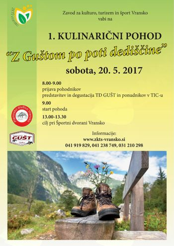 """1. KULINARIČNI POHOD """"Z Guštom po poti dediščine"""", 20. maj 2017"""