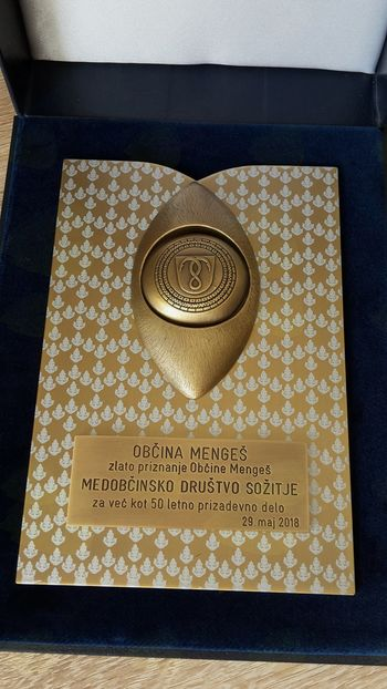 Zlato priznanje Občine Mengeš Medobčinskemu društvu Sožitje