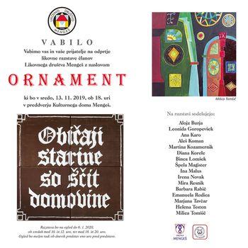 Odprtje likovne razstave članov Likovnega društva Mengeš z naslovom ORNAMENT