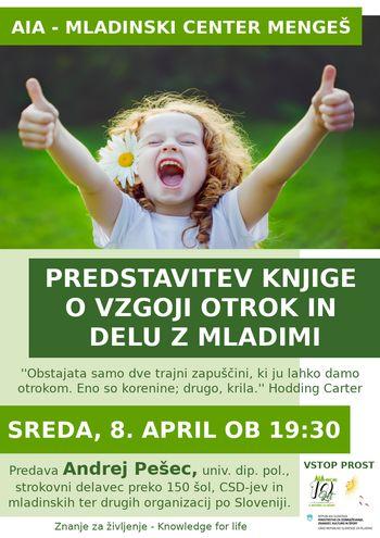 Predstavitev knjige o vzgoji otrok in delu z mladimi, A. Pešec/ODPOVEDANO