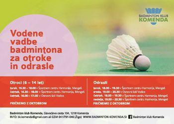 Badminton za otroke in odrasle 2018/2019!