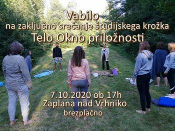 Vabilo na zadnje srečanje ŠK Telo okno priložnosti  NEDELJA 11.10.2020