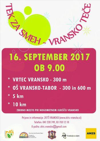 TEK ZA SMEH - VRANSKO TEČE, 16. september 2017 ob 9.00