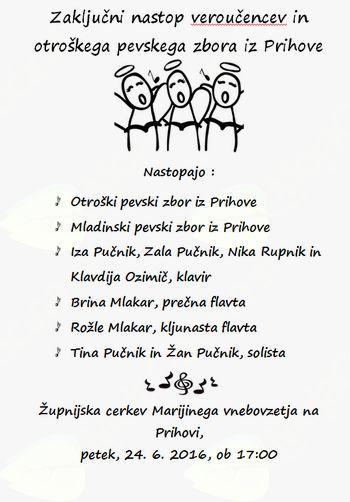 Zaključni koncert učencev verouka in OPZ iz Prihove
