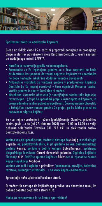 Knjižnica Domžale in vse njene enote od 26.10.2020 do preklica zapirajo svoja vrata