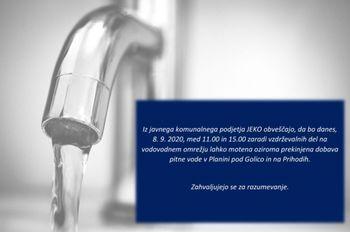 Obvestilo o moteni oskrbi s pitno vodo