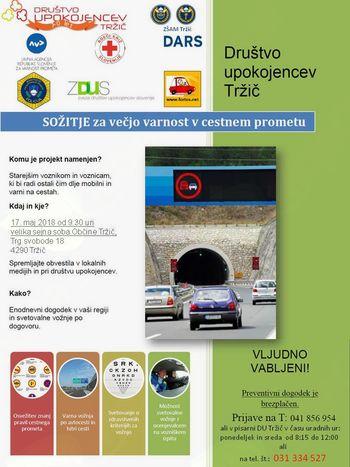 Projekt SOŽITJE za večjo varnost v cestnem prometu za seniorje in upokojence