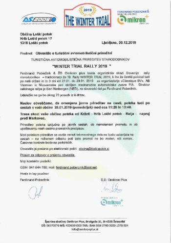 Turistična avtomobilistična prireditev starodobnikov WINTER TRAIL RALLY 2019