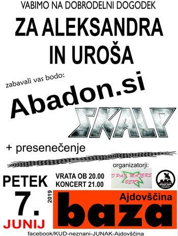 Dobrodelni koncert za Aleksandra in Uroša: nastopajo Abadon, Skalp + presenečenje