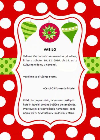 Božično-novoletna prireditev OŠ Komenda Moste