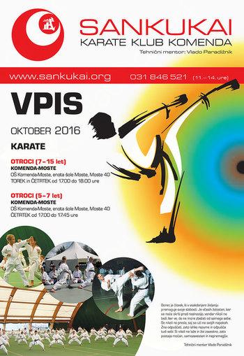 Predstavitev karateja v nedeljo, 9. 10. 2016 ob 11:00 v šotoru 8