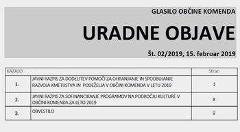 URADNE OBJAVE GLASILA OBČINE KOMENDA 02/2019