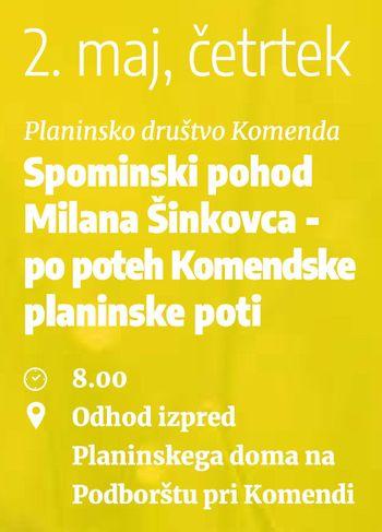 SPOMINSKI POHOD MILANA ŠINKOVCA PO POTEH KOMENDSKE PLANINSKE POTI