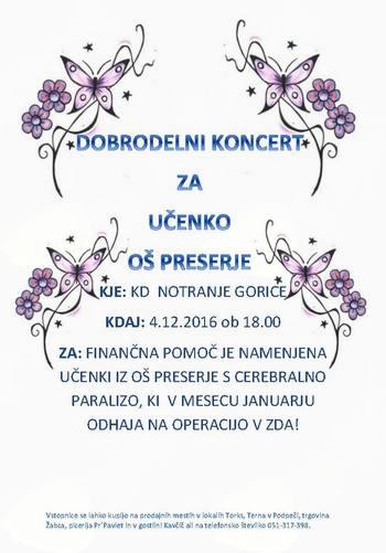 Dobrodelni koncert za učenko OŠ Preserje