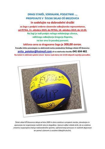Dobrodelna dražba za žogo s podpisi srebrne slovenske odbojkarske reprezentance - Šolski sklad OŠ Brezovica