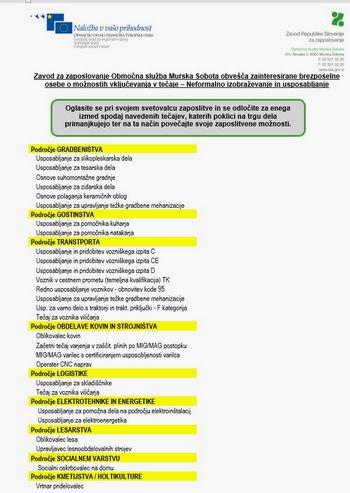 OBVESTILO: Neformalno izobraževanje in usposabljanje