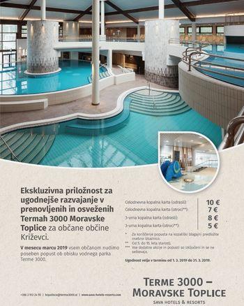 OVESTILO: Terme 3000 Moravske Toplice - ugodnejše kopanje občanov občine Križevci