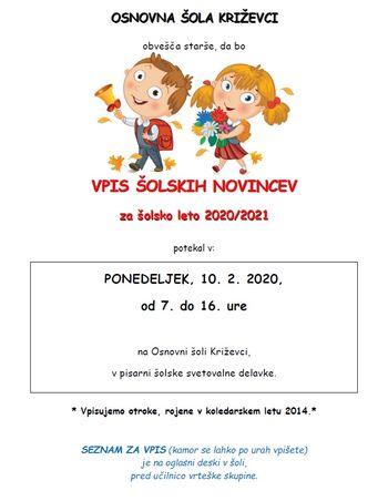 VPIS ŠOLSKIH NOVINCEV za šolsko leto 2020/2021