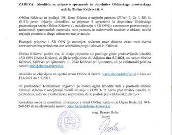 Obvestilo zainteresirani javnosti: sprememba OPN - železniški prehod Ključarovci