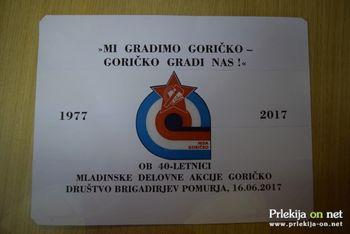 40. obletnica prve mladinske delovne akcije GORIČKO