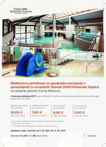 Ekskluzivna priložnost za ugodnejše razvajanje v prenovljenih in osveženih Termah 3000 Moravske Toplice za občane občine Gornji Petrovci.