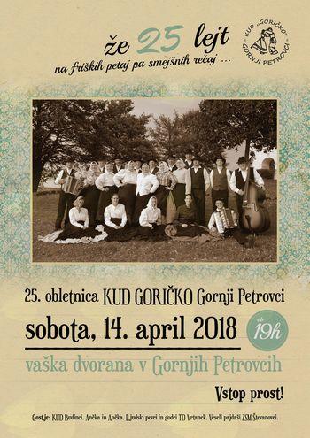"""Gledališki večer ob 25. obletnici delovanja KUD Goričko """"Že 25 lejt na friških petaj in smejšnih rečaj"""""""