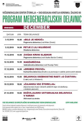 VGC Štorklja - prireditve v mesecu decembru