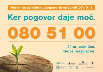 Številka telefona za psihološko podporo prebivalcem ob epidemiji 080 51 00.